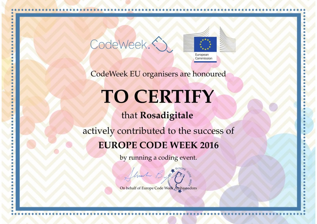 Attestato Codeweek per Rosadigitale