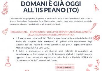 """Torino. Evento: """"Domani è già oggi all'IIS Peano"""""""